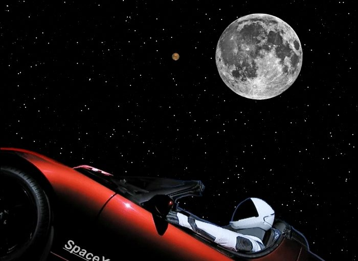 Red Roadster Buzzes Red Planet